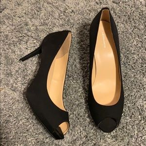 Size 11 black peep toe heels - perfect condition!